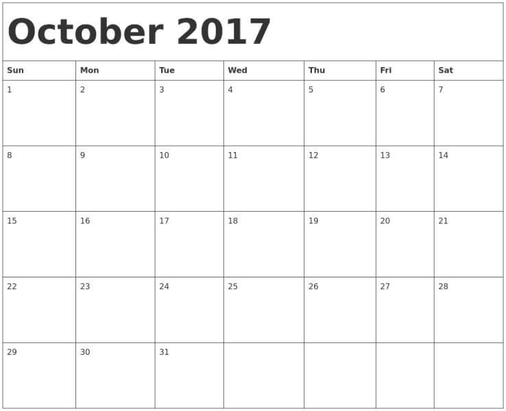 Free October Calendar  Printable Templates Blank With Notes
