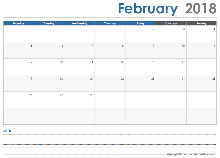 February 2018 Calendar with Space Note