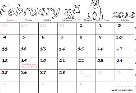 February 2018 Calendar With Holidays USA UK India Singapore German ...