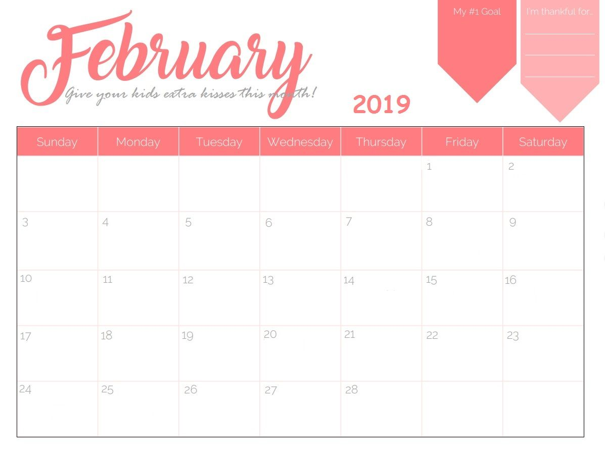 February 2019 Calendar Pdf Word Notes Excel Vertex A4 Page Feb