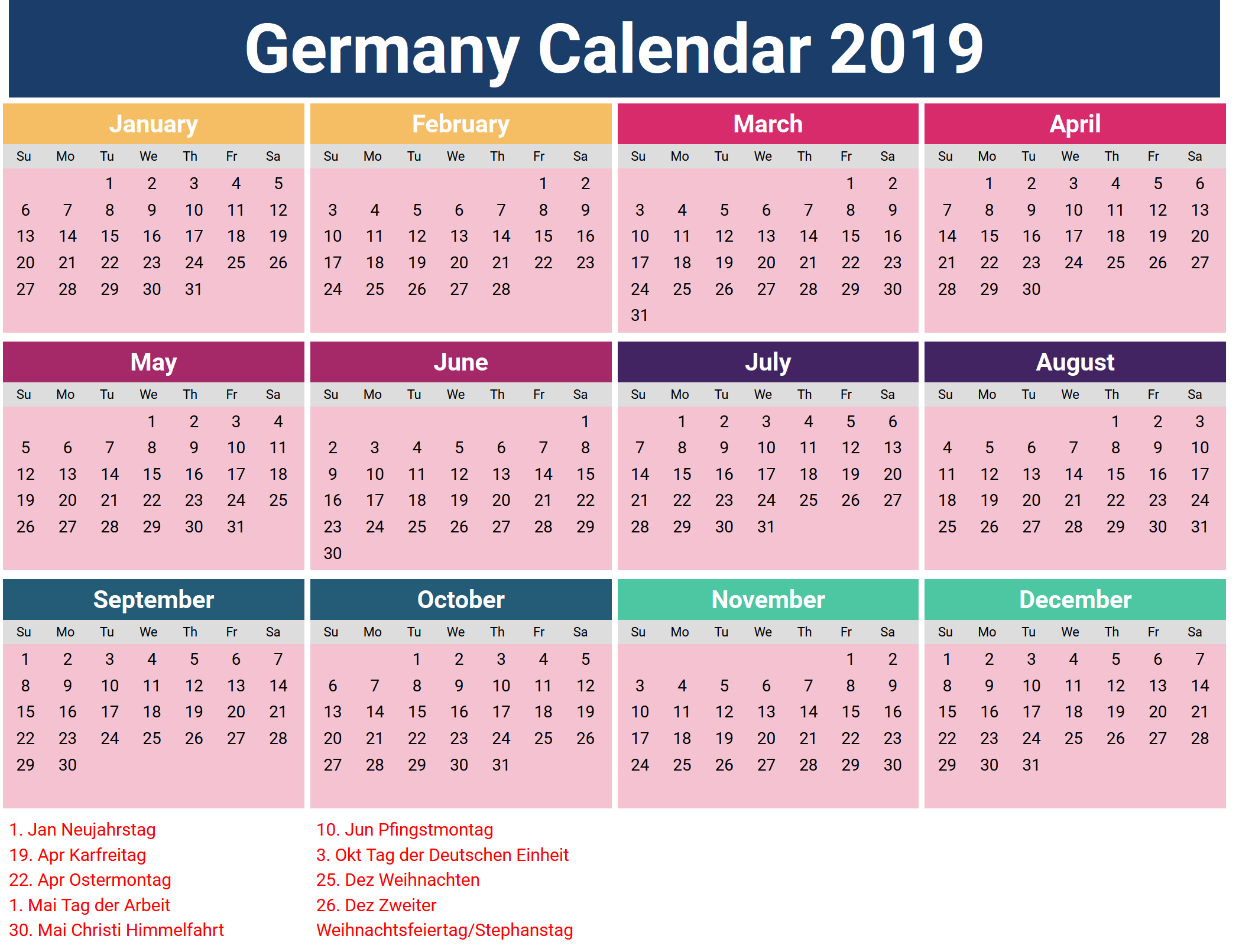 February 2019 Calendar Holidays Germany