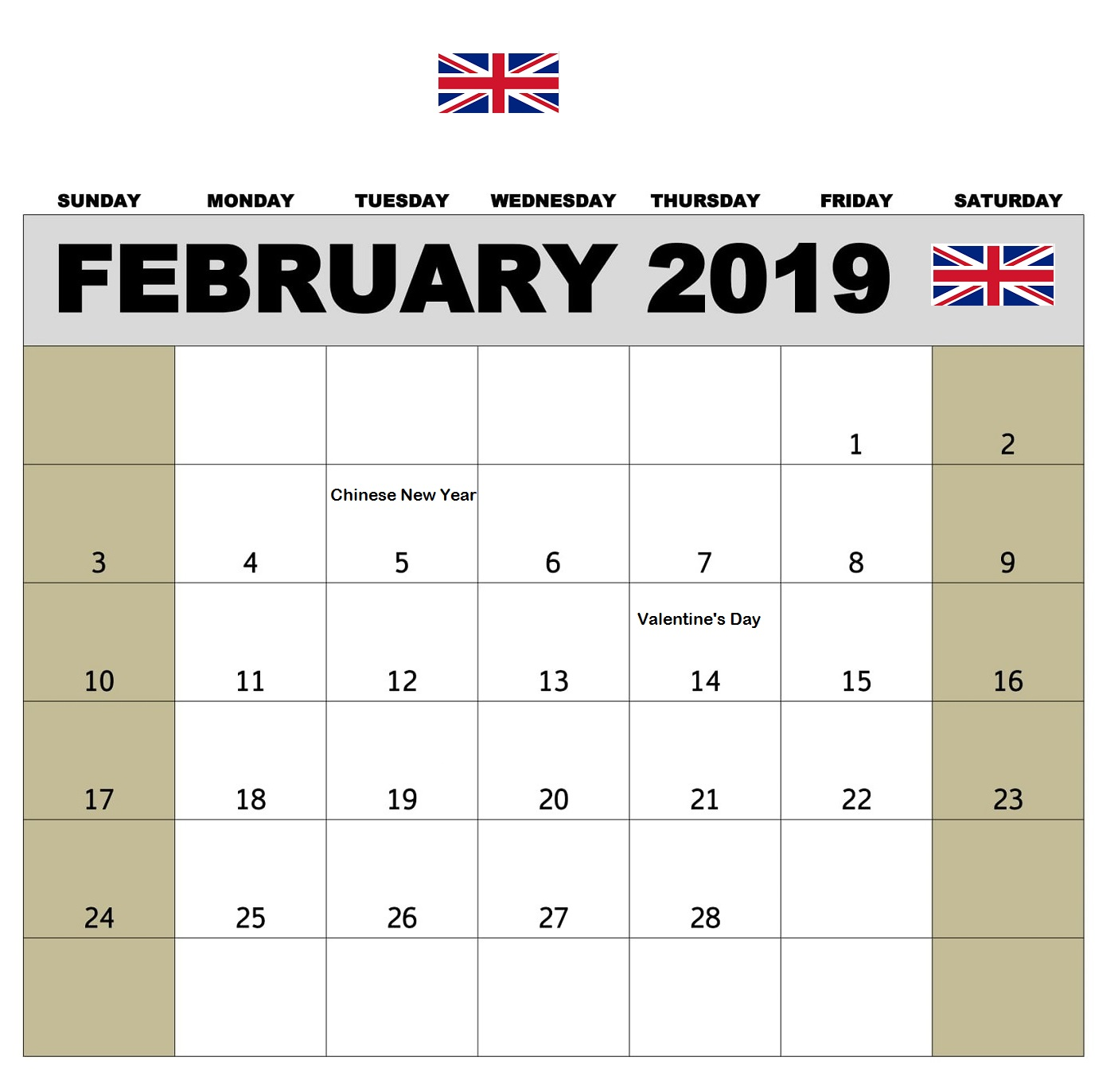 February 2019 Calendar Holidays UK