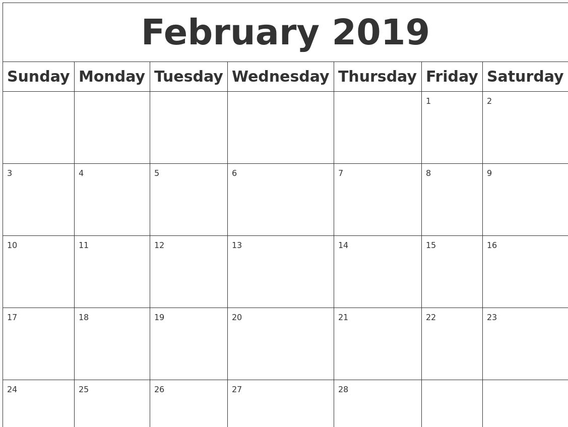 February Calendar 2019 Pdf February 2019 Calendar PDF Word Notes Excel Vertex A4 Page | Feb
