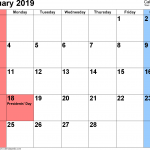 February 2019 Calendar With Holidays USA UK India Singapore German Canada SA Malaysia