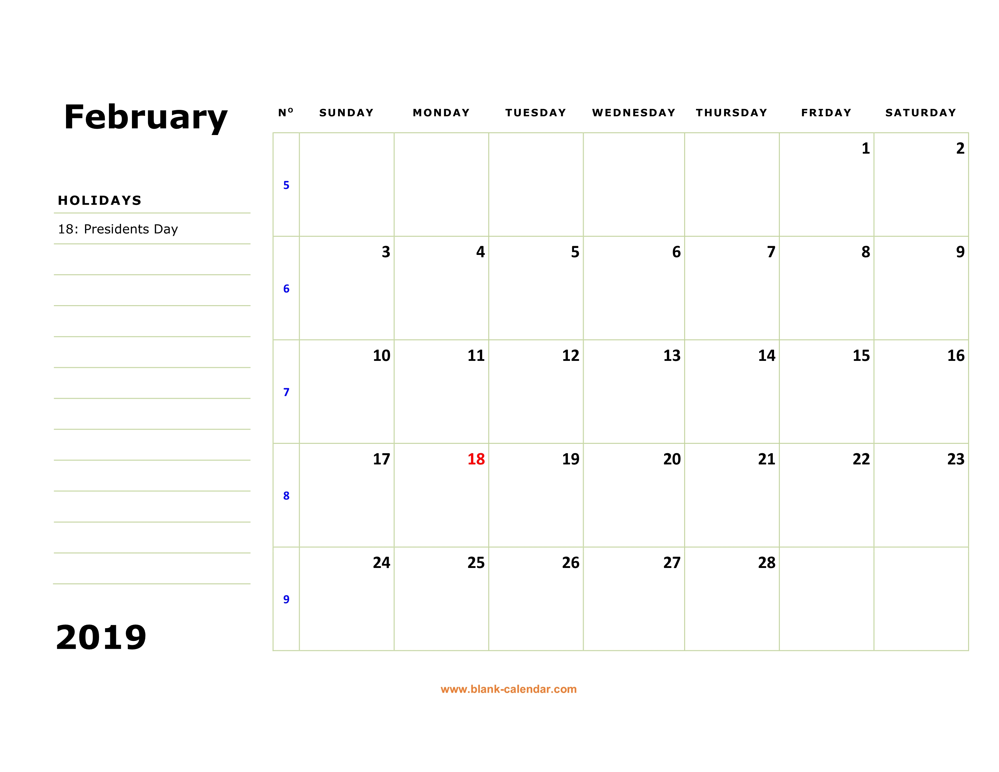 February 2019 Calendar with US Holidays