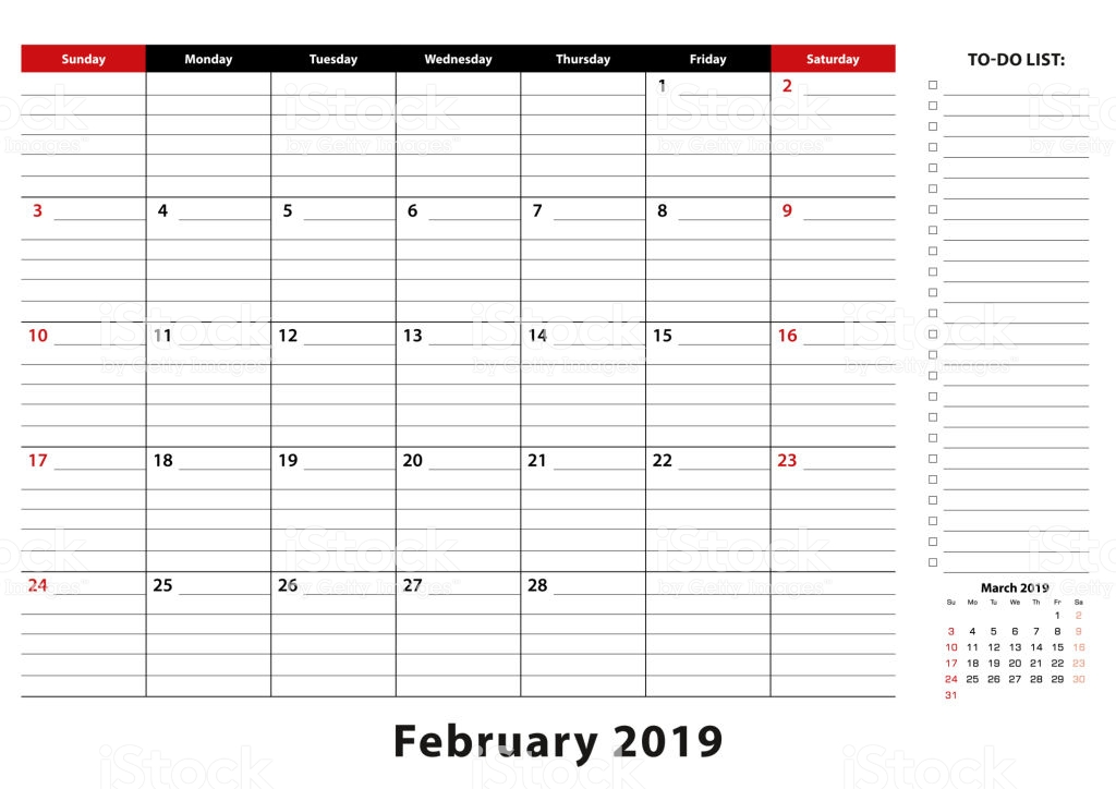 February 2019 Monthly Desk Pad Calendar week starts from sunday
