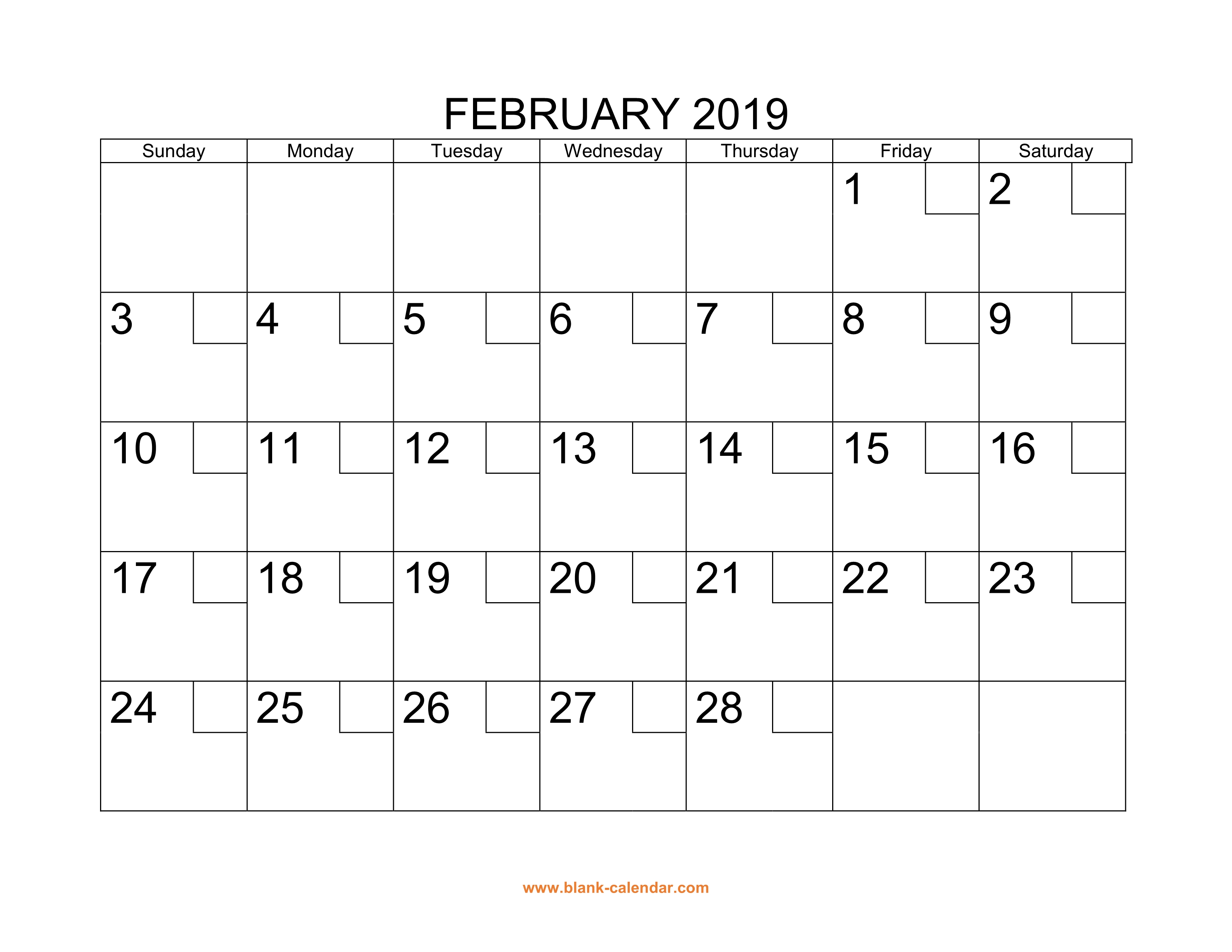 Free Download Printable February 2019