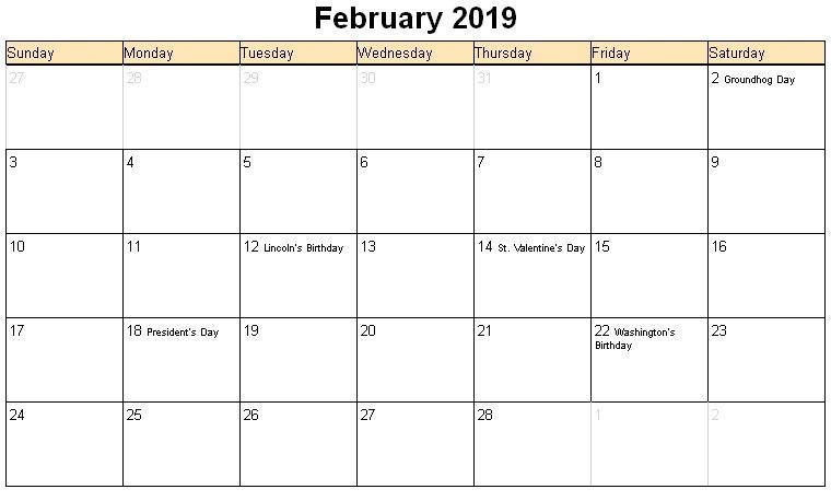 February 2019 Printable Calendar With Holidays february 2019 calendar with holidays