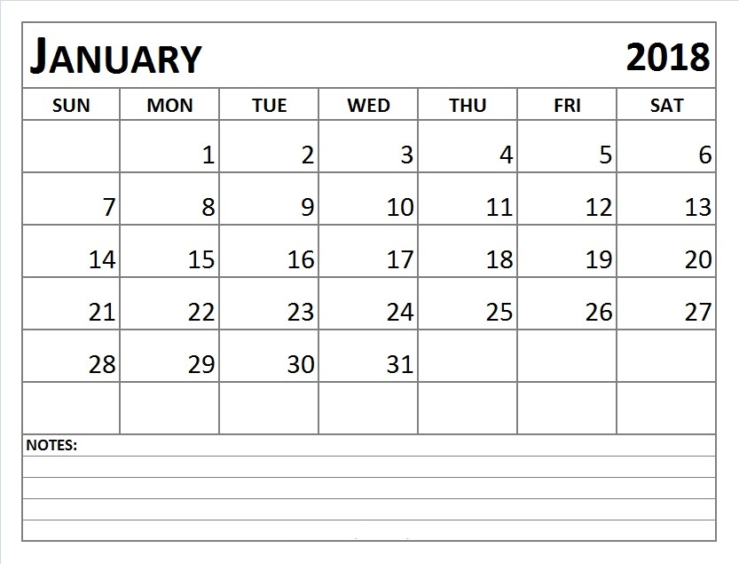 January 2018 Calendar With Notes