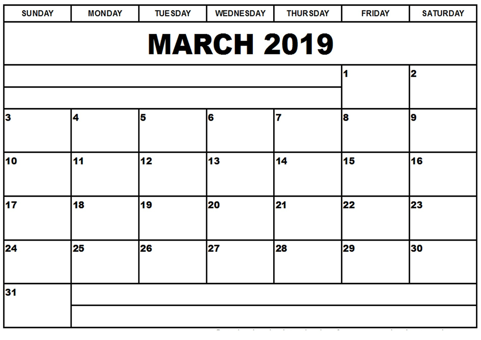 Fresh March 2019 Calendar Template