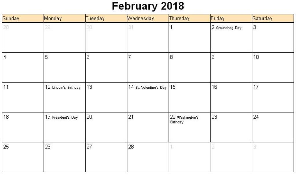 Calendar February 2018 Holidays Printable