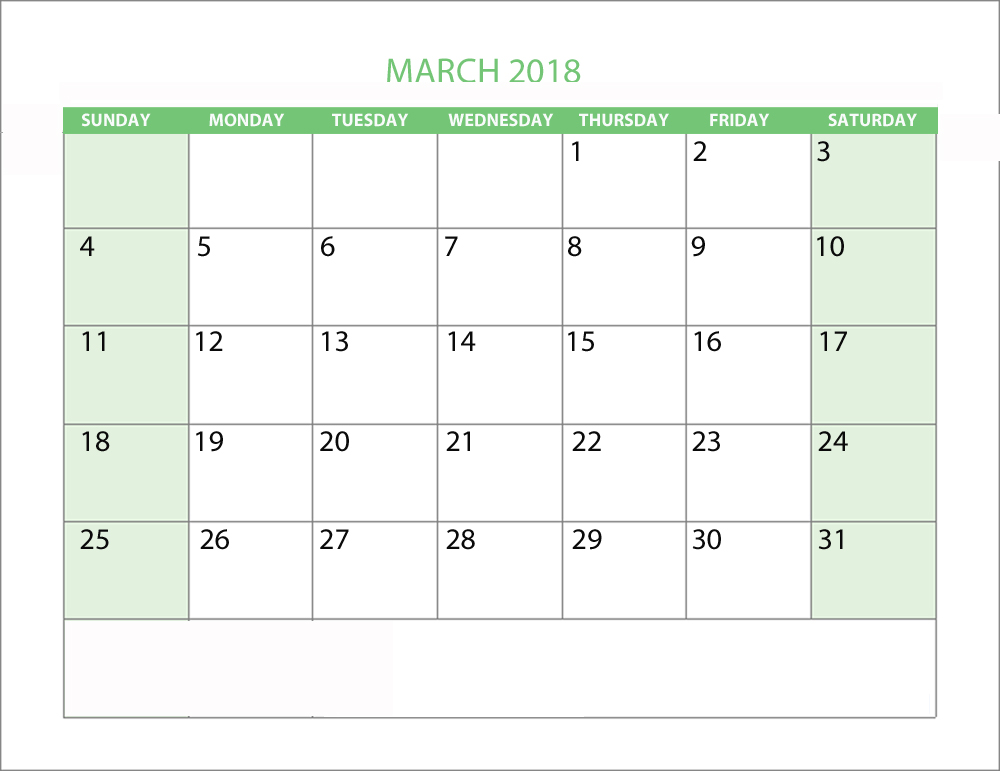 Free March 2018 Calendar Page