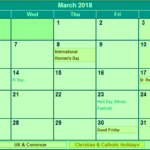 March 2018 Calendar with Holidays USA UK Canada India Malaysia Singapore Germany NZ SriLanka
