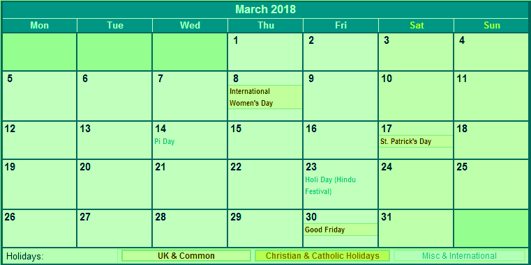 March 2018 Calendar Holidays Printable