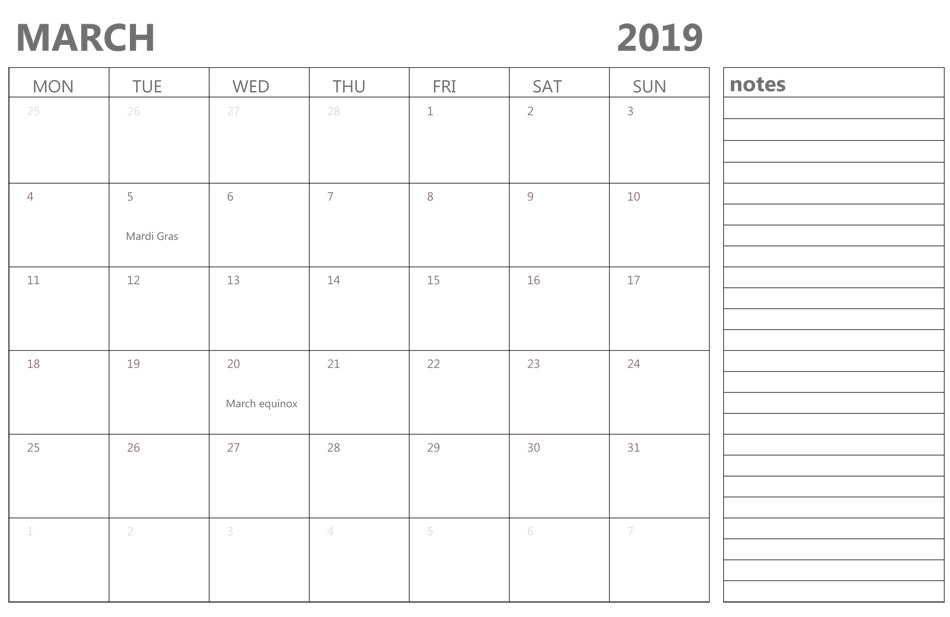 March 2019 Calendar with Notes