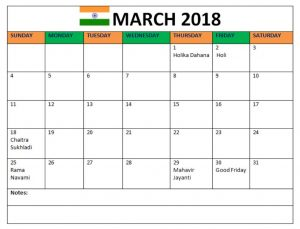 March Calendar 2018 With Holidays India
