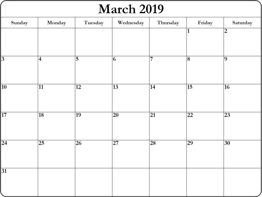 Monthly 2019 March Calendar To Print
