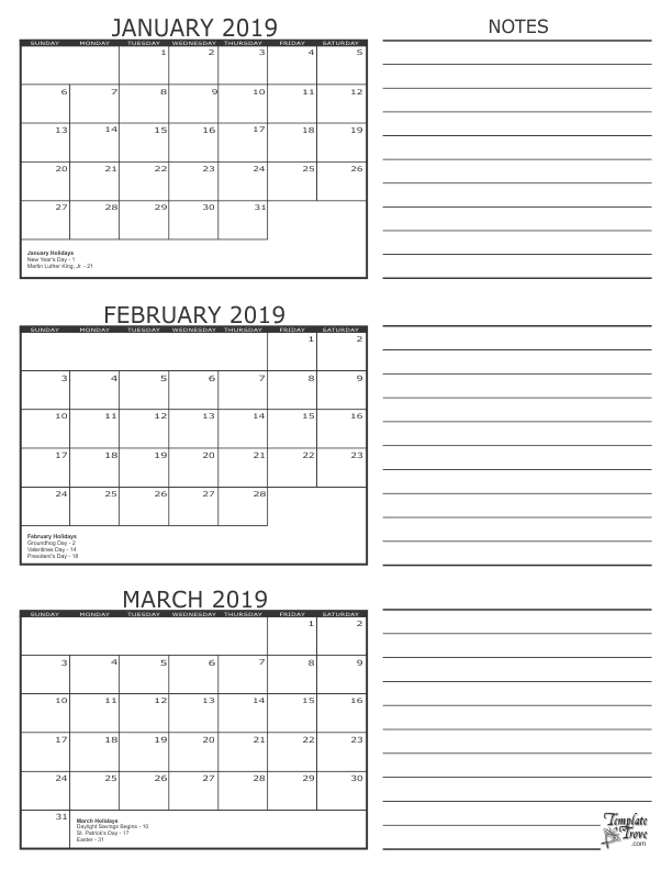 jan feb march 2019 calendar