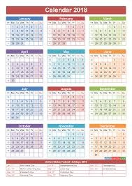 2018 calendar with holidays printable