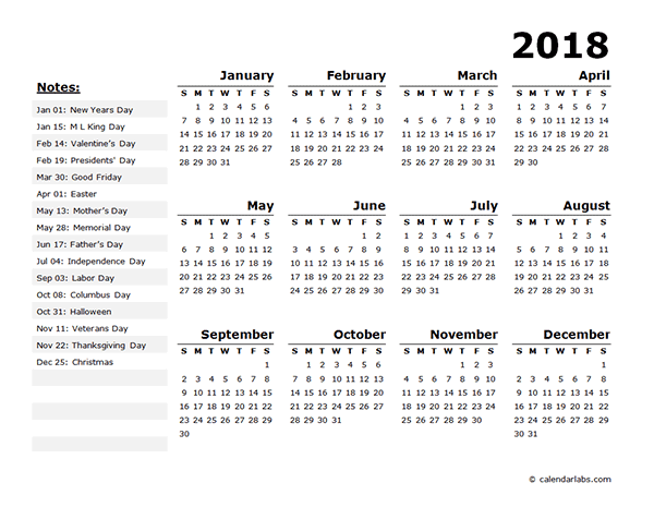 2018 Year Calendar Template with US Holidays