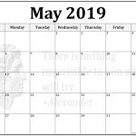 Blank May Calendar Printable 2019 Template Editable