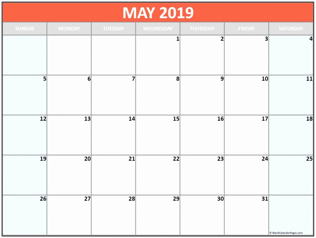 may 2019 printable calendar template