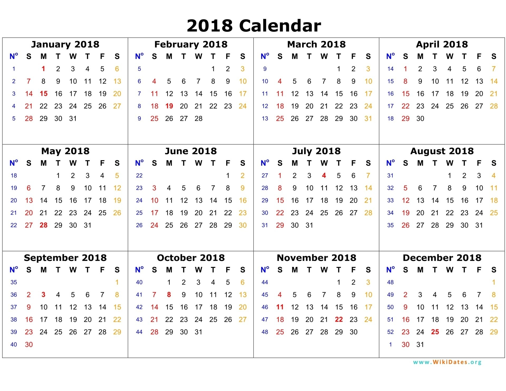 picture regarding Monthly Printable Calendar identified as Printable Calendar 2018 - Free of charge 2018 Blank Calendar Template