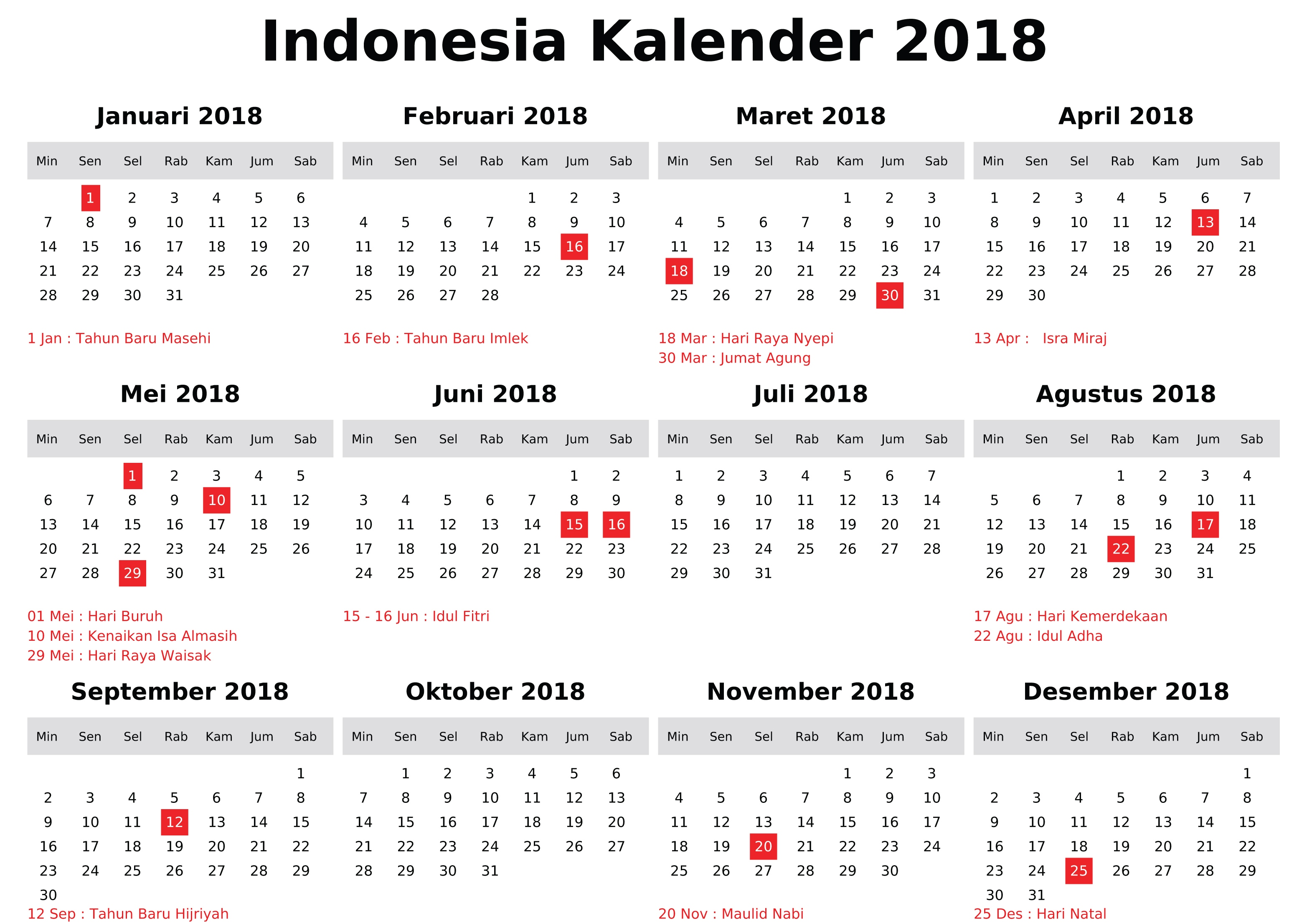 Holidays of Indonesia Kalender 2018