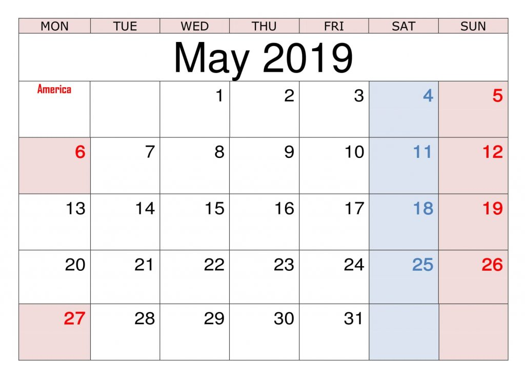 May 2019 Calendar With Holidays UK