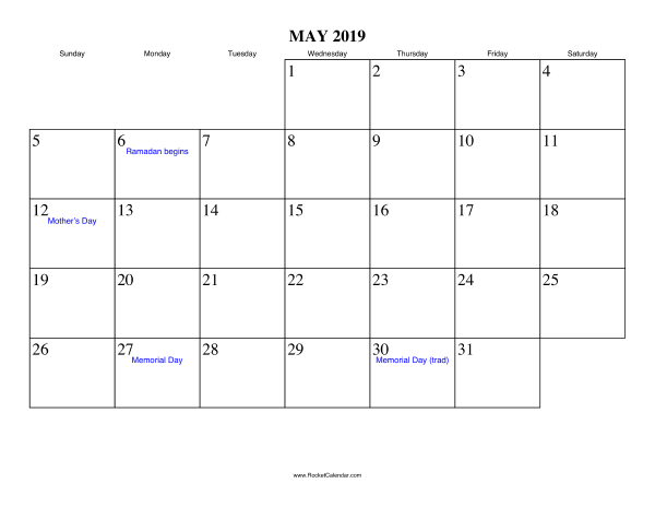 May 2019 Holidays Calendar