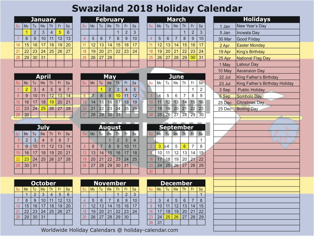 Swaziland 2018 Holiday Calendar