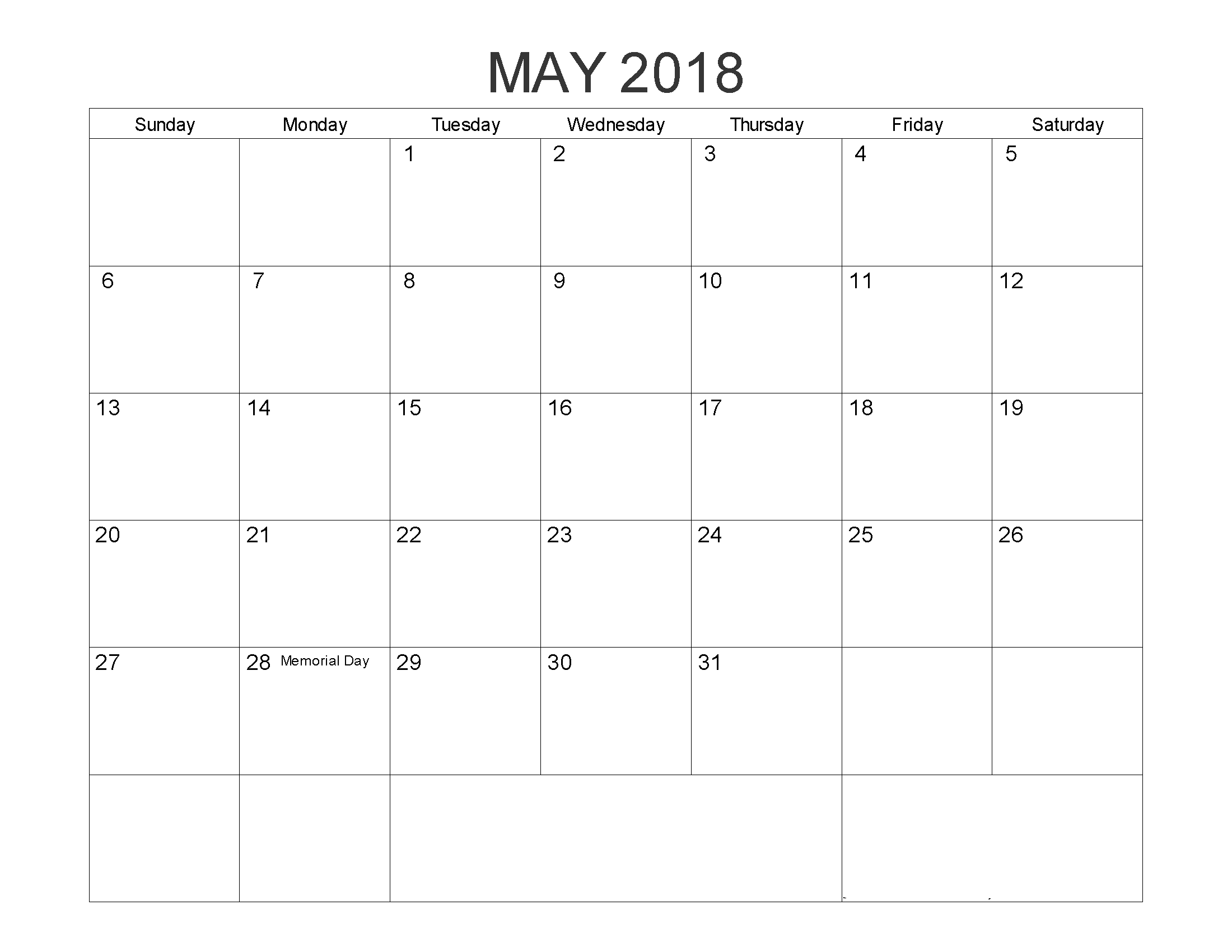 2018 May Calendar PDF Format With Holidays