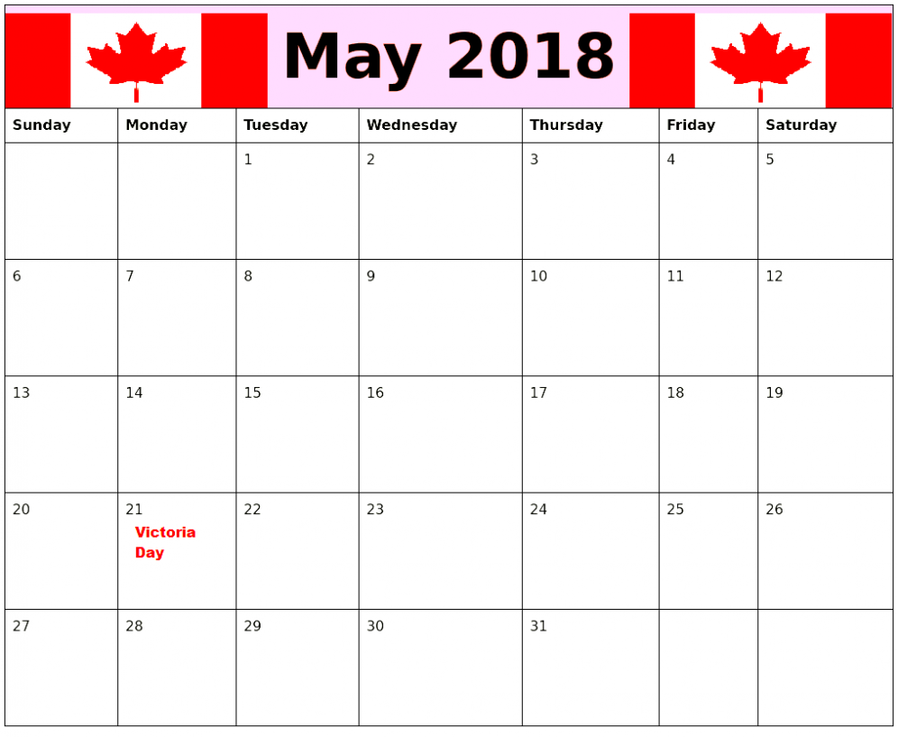 2018 May Calendar With Canada Holidays