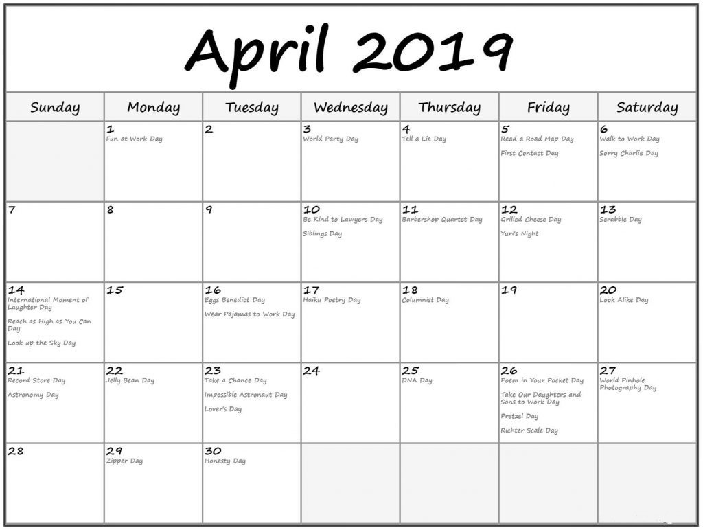 April 2019 Calendar Holiday