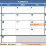 April 2019 Calendar with Holidays India USA Canada UK NZ Malaysia Singapore Australia SA