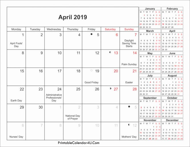 April 2019 Calendar with Holidays Printable