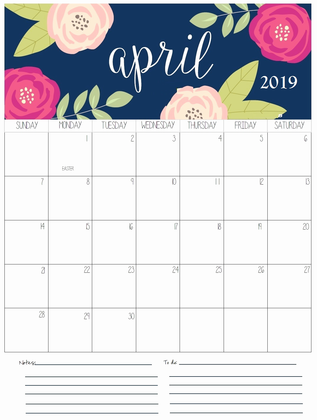 april 2019 calendar with holidays monthly printable