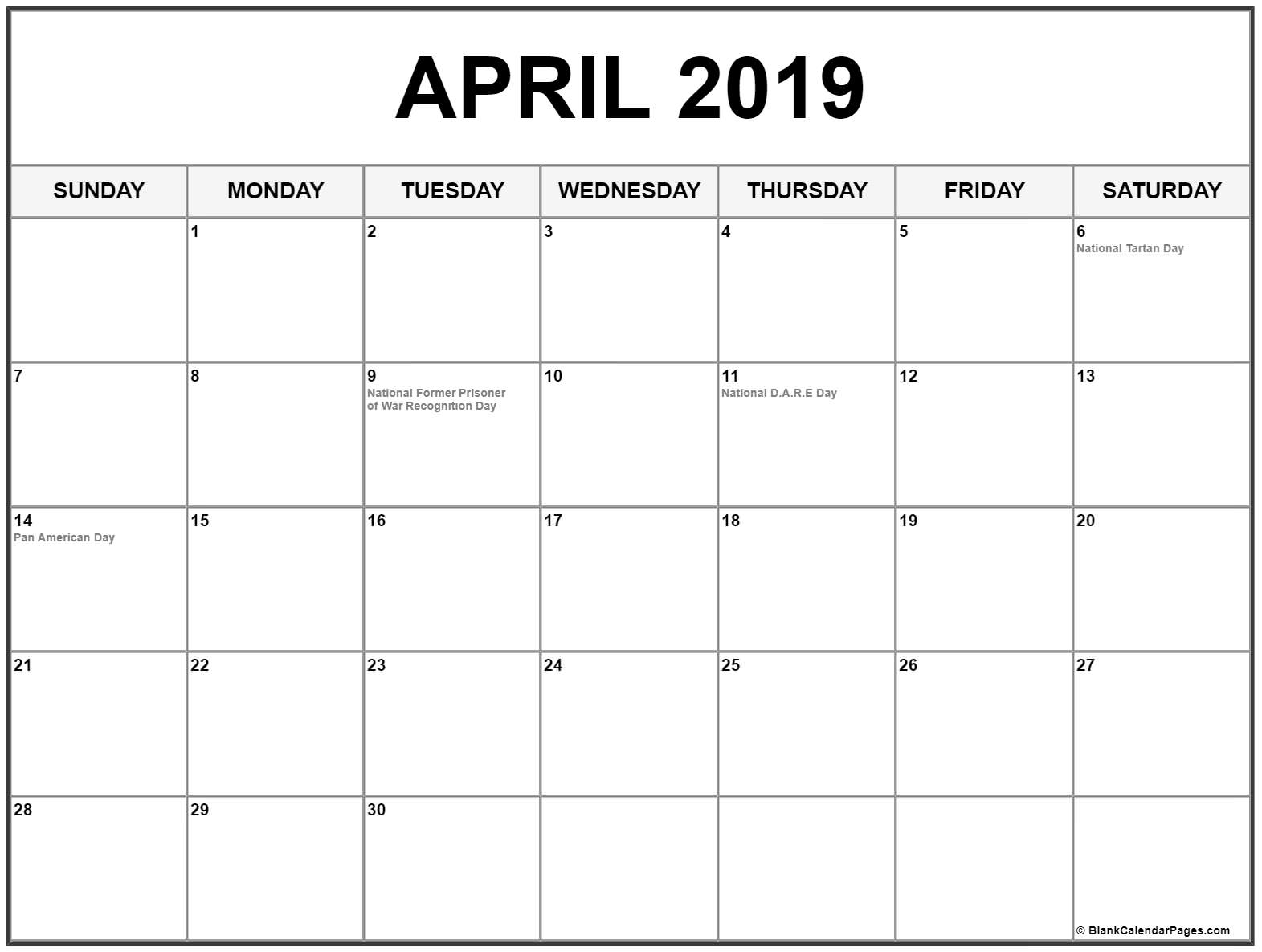 April 2019 Calendar Holiday USA