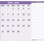 April 2020 Calendar PDF Word Excel Page Doc Sheet Landscape Portrait A4 Editable