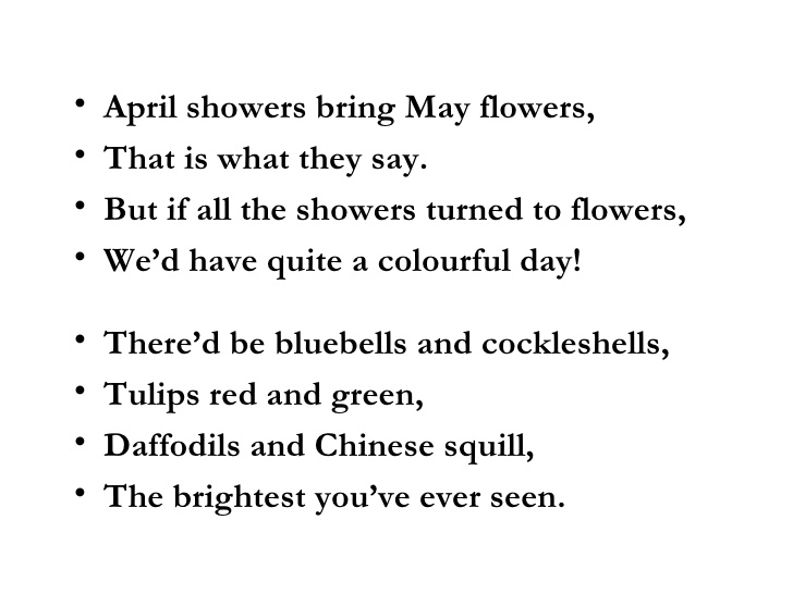 April Showers Bring May Flowers Poem