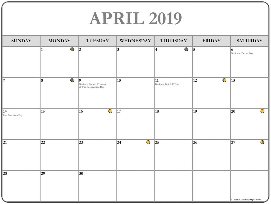 April Moon Phases For 2019 Month
