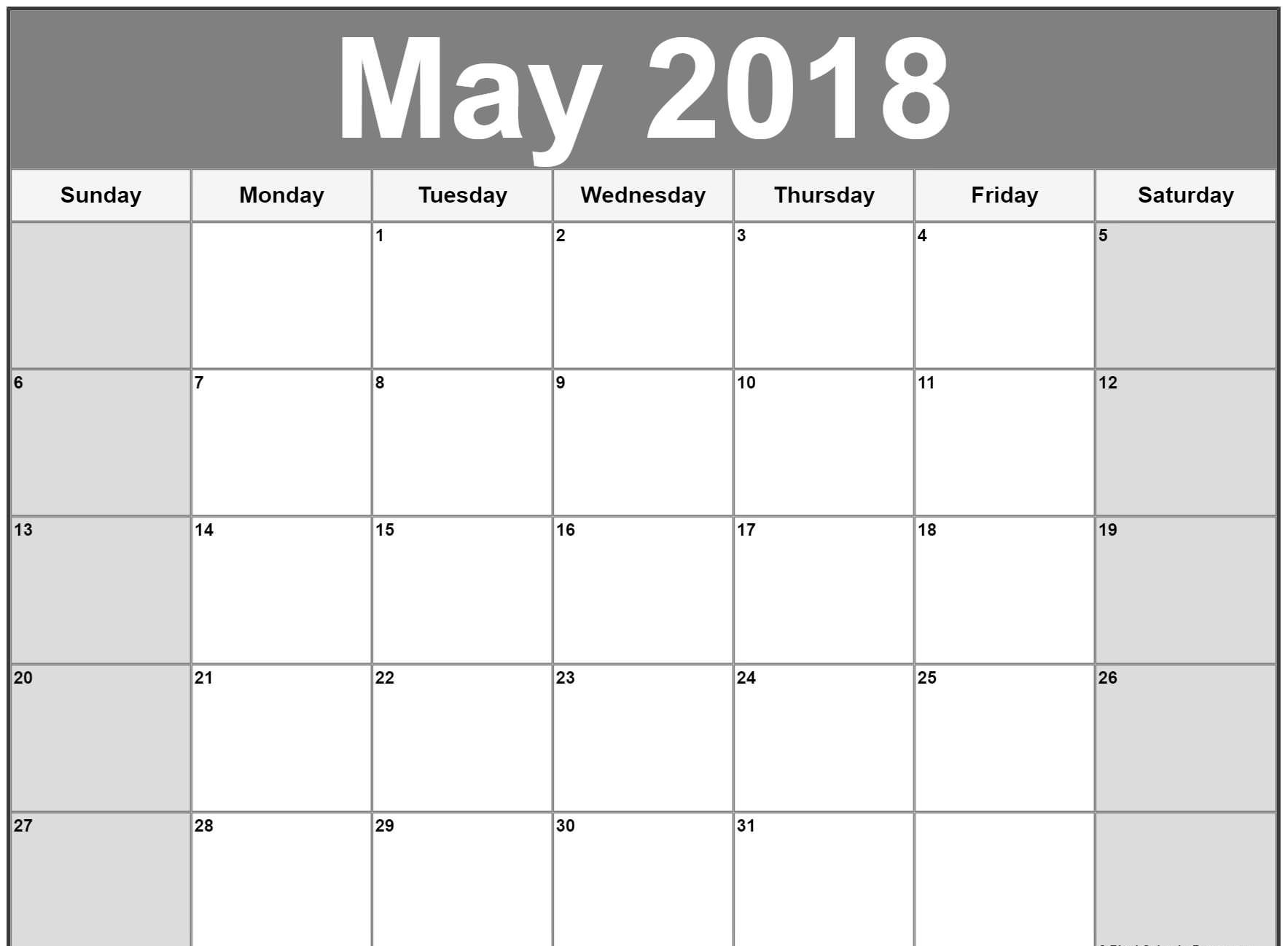 Blank May Calendar 2018 Printable Design