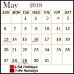 May 2019 Holidays Calendar Printable Blank Large Space Notes