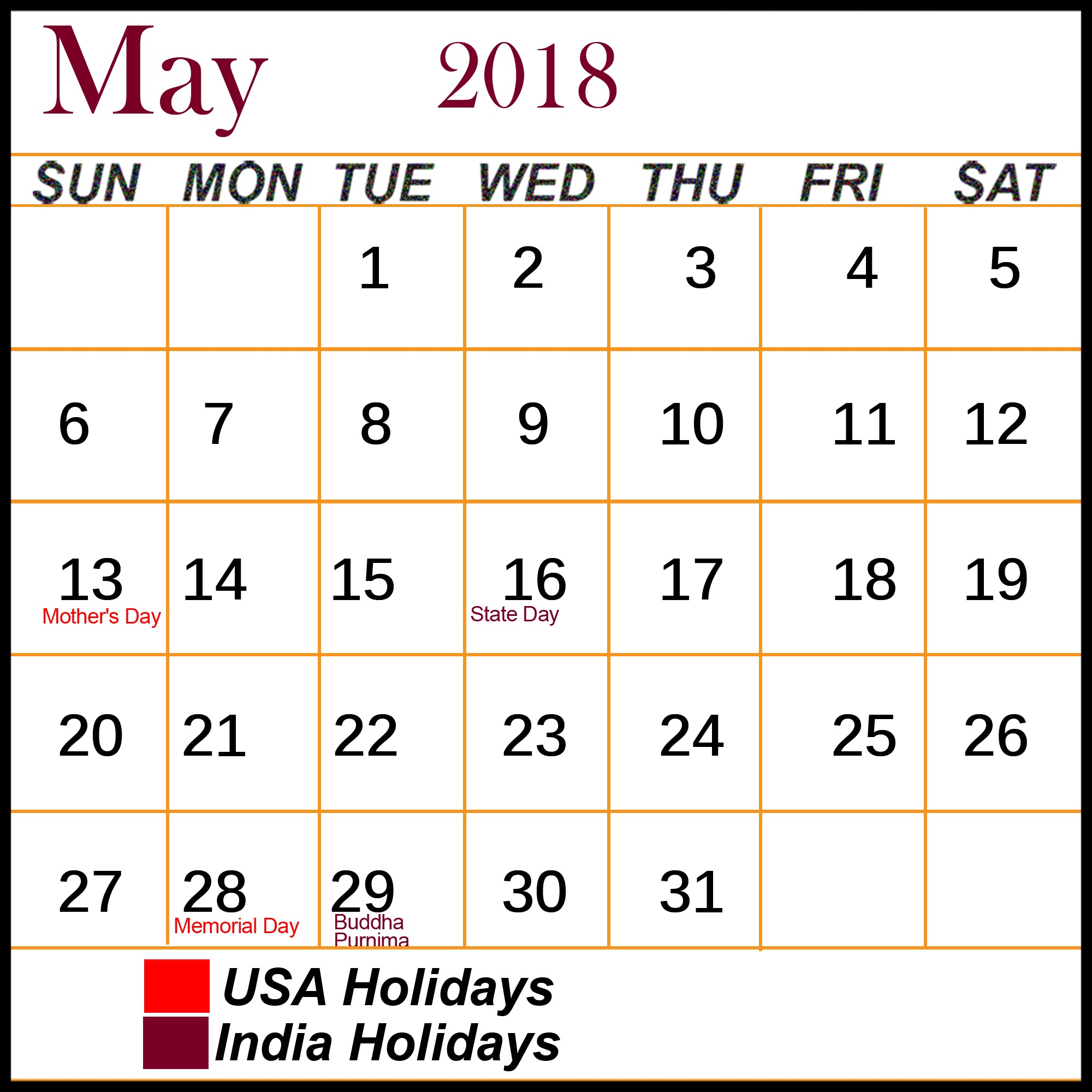 Calendar 2018 May with Bank Holidays