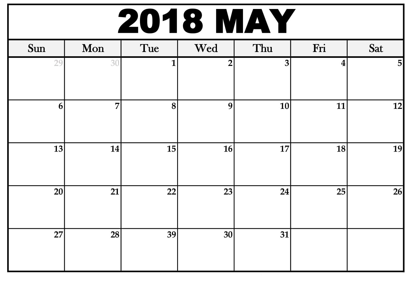 Calendar May With 2018 Holidays
