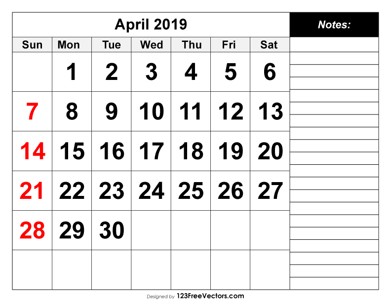 Free Monthly April Calendar 2019