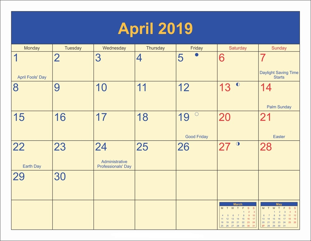 Holiday Calendar 2019 April