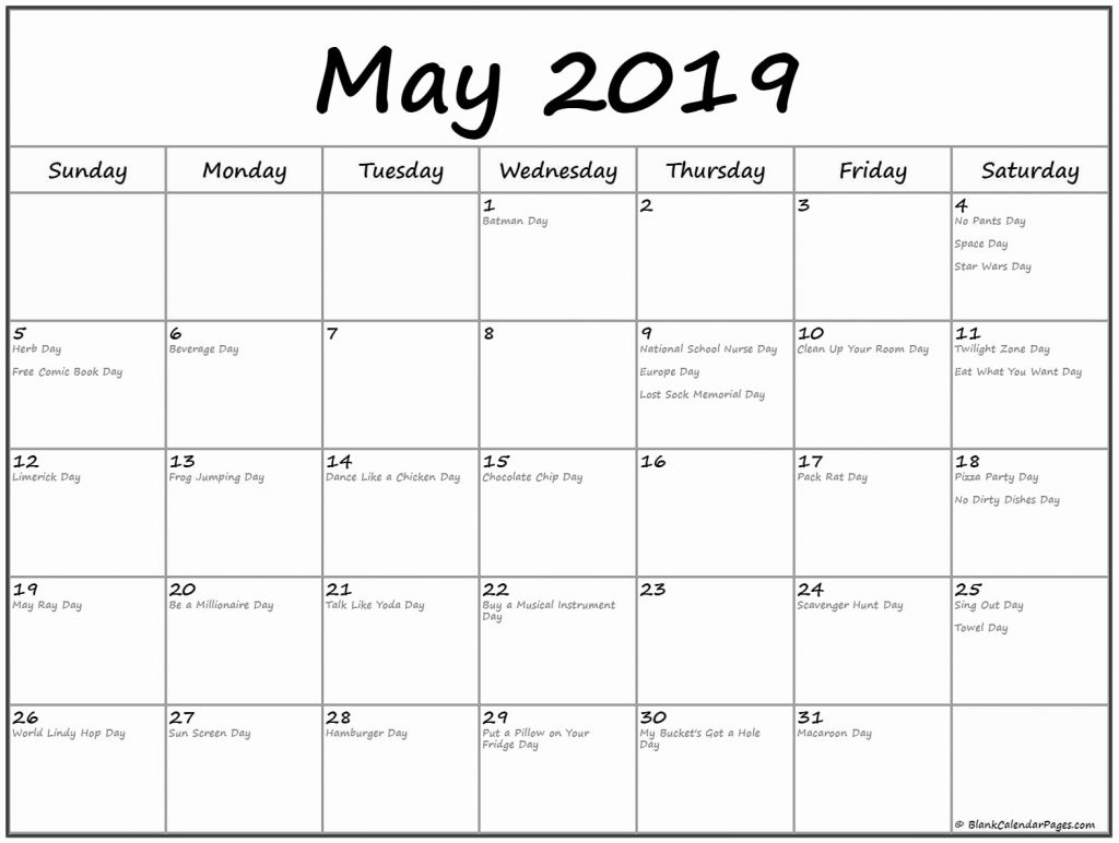 may 2019 calendars with holidays printable