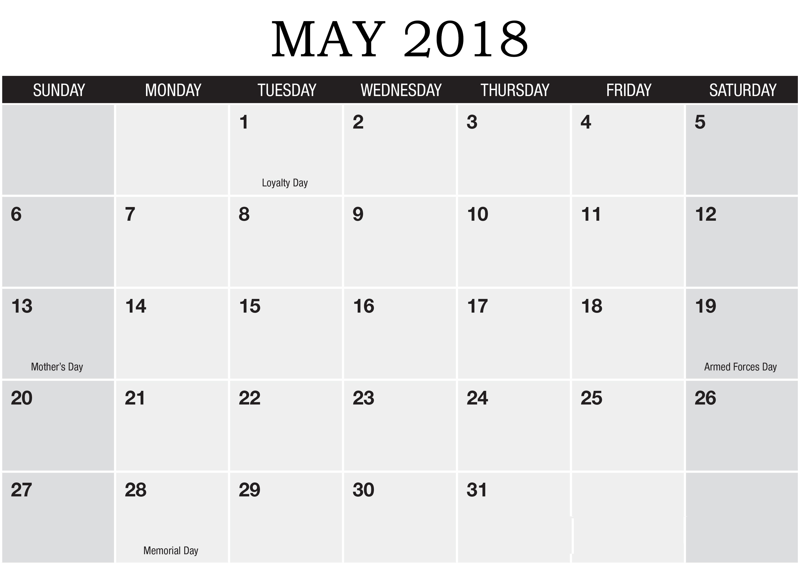 Holidays in May Month