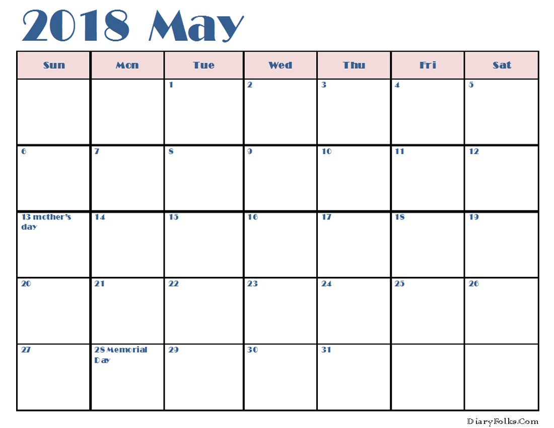 May 2018 Calendar Printable Templates